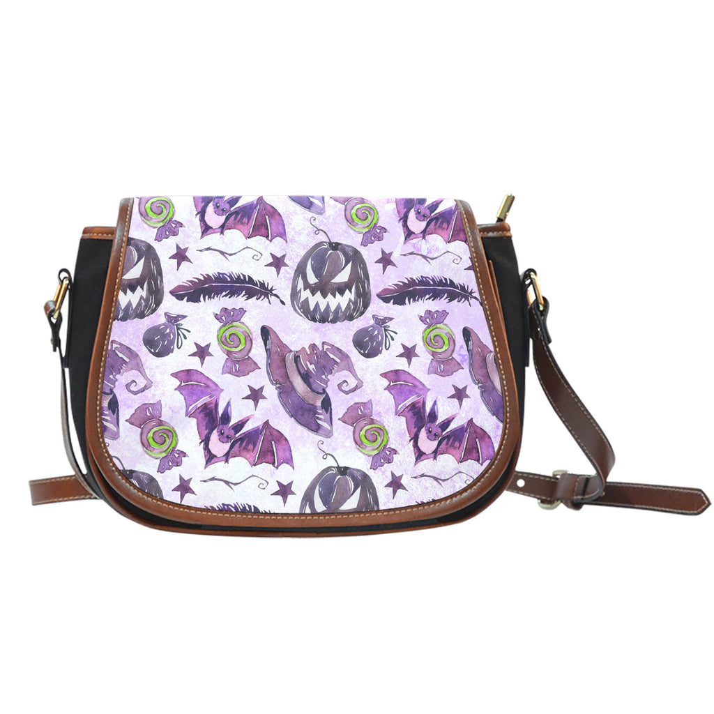 Witch Themed Design 7 Crossbody Shoulder Canvas Leather Saddle Bag