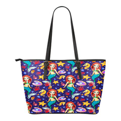 Mermaid Themed Design C14 Women Small Leather Tote Bag