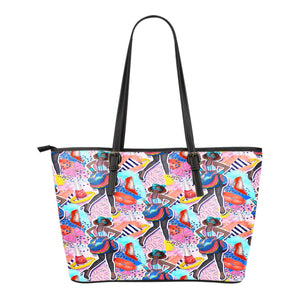 80s Fashion Themed Design C8 Women Small Leather Tote Bag