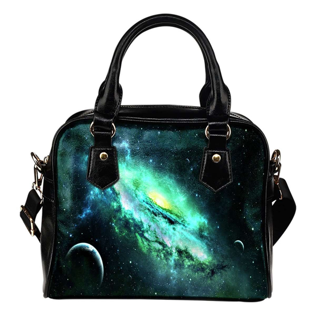 Galaxy #7 Theme Women Fashion Shoulder Handbag Black Vegan Faux Leather