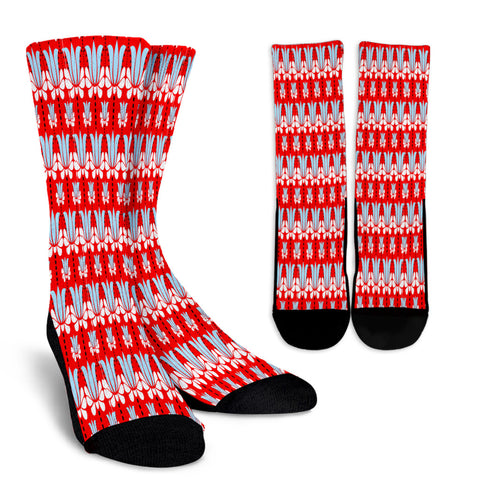 Art Deco Red Floral Crew Socks