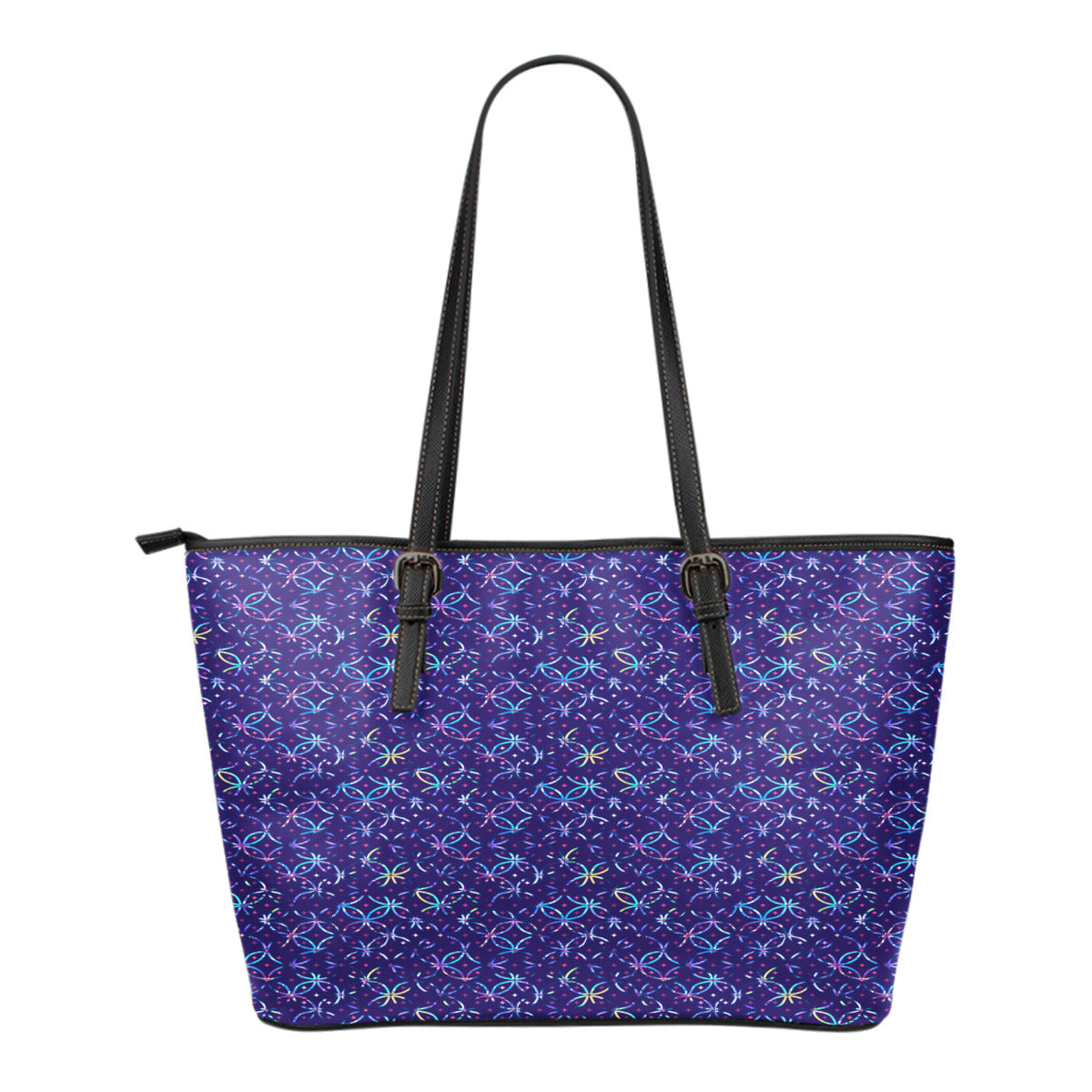 Mermaid Themed Design C3 Women Small Leather Tote Bag