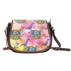 Spring Paper Themed Design 9 Crossbody Shoulder Canvas Leather Saddle Bag