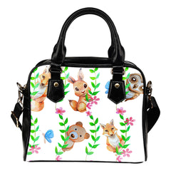 Woodland Themed Design B8 Women Fashion Shoulder Handbag Black Vegan Faux Leather