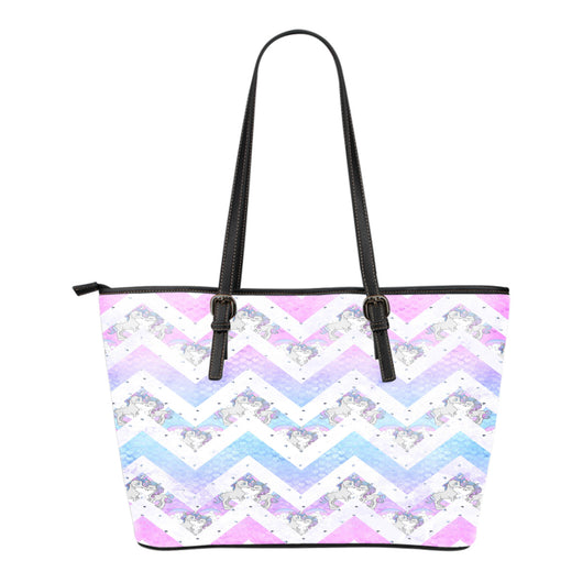 Unicorn Themed Design C10 Women Small Leather Tote Bag
