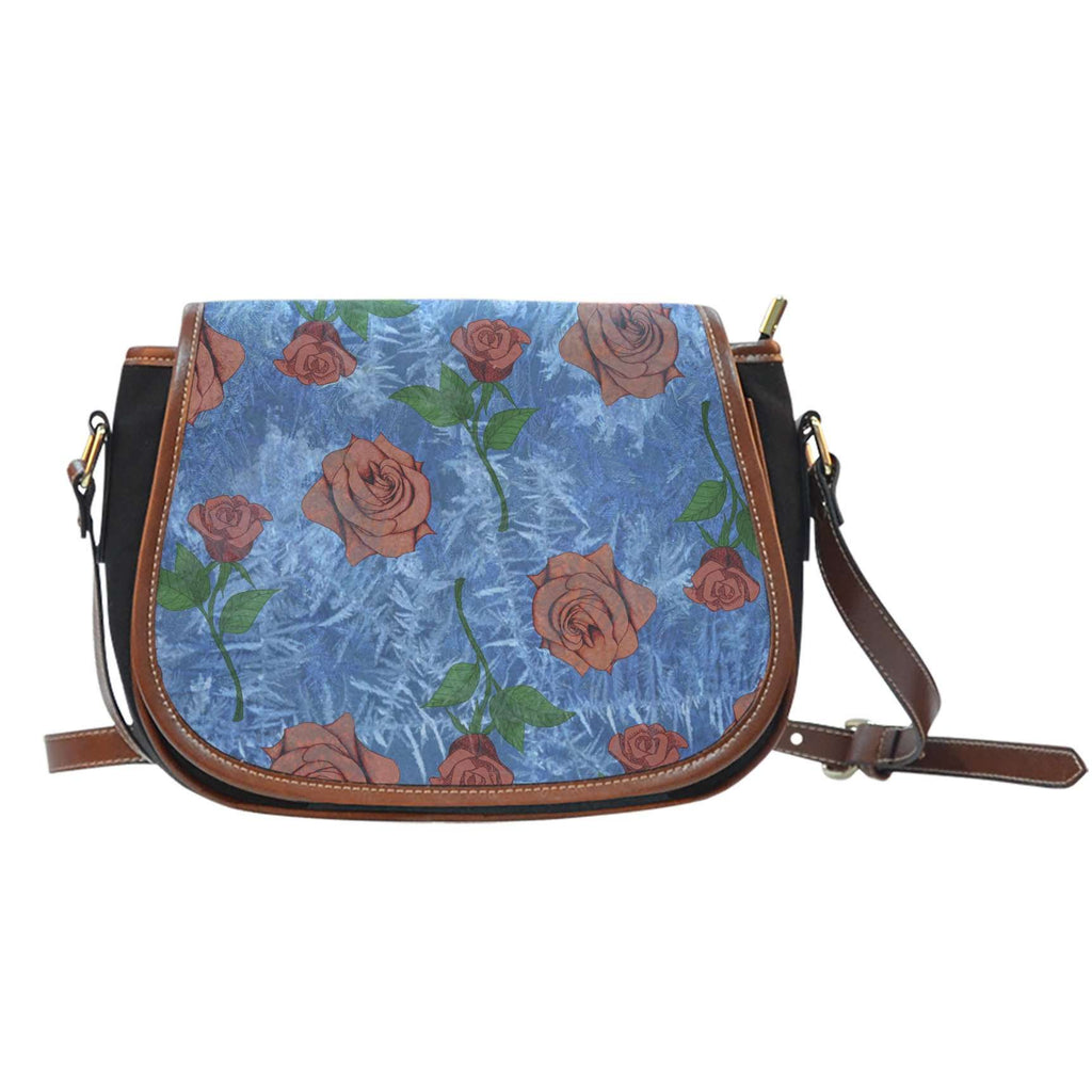 Beauty And Beast Frosted Rose Crossbody Shoulder Canvas Leather Saddle Bag