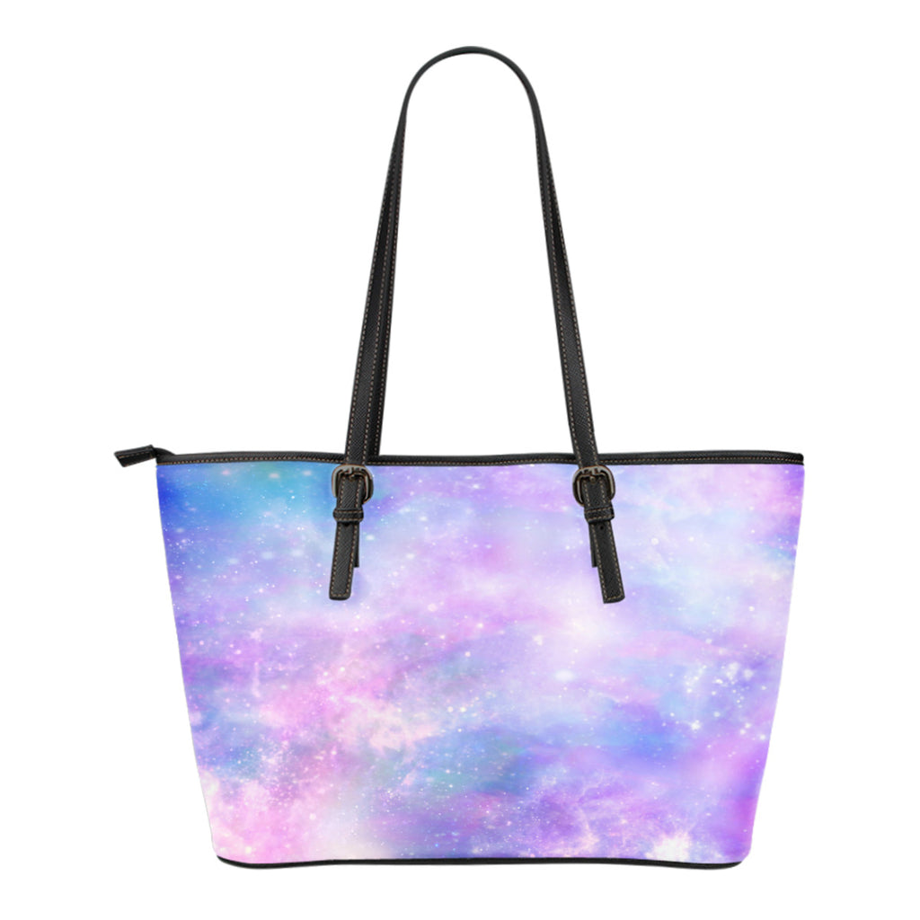Pastel Galaxy Themed Design C10 Women Small Leather Tote Bag