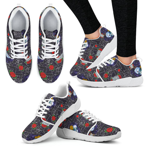 Sugar Skull Chevron Women Athletic Sneakers