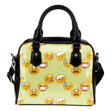 Fun Emojis Sick Theme Women Fashion Shoulder Handbag Black Vegan Faux Leather - STUDIO 11 COUTURE