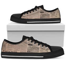 Old Newspaper 1 Women Low Top Shoes