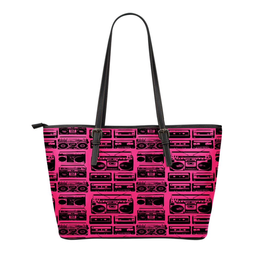 80s Boombox Themed Design C7 Women Small Leather Tote Bag