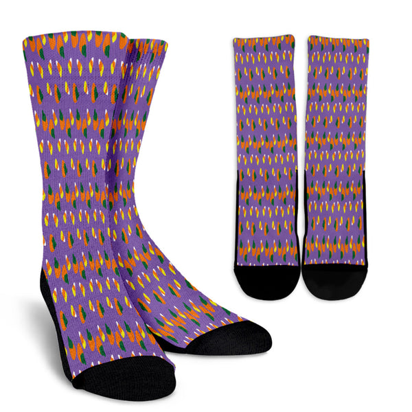 Purple Candy Corn Halloween Crew Socks
