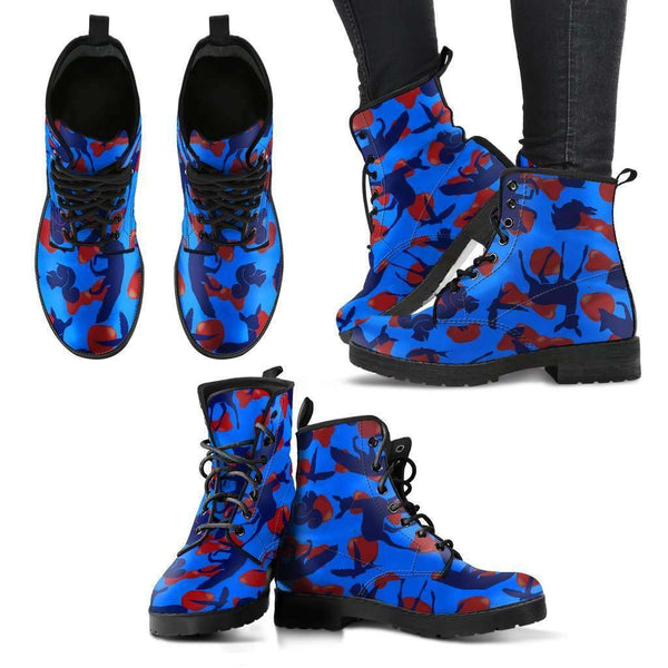 Woodland Creatures Blue Womens Leather Boots - STUDIO 11 COUTURE