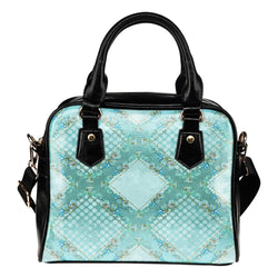 Summer Mermaid Themed Design B13 Women Fashion Shoulder Handbag Black Vegan Faux Leather