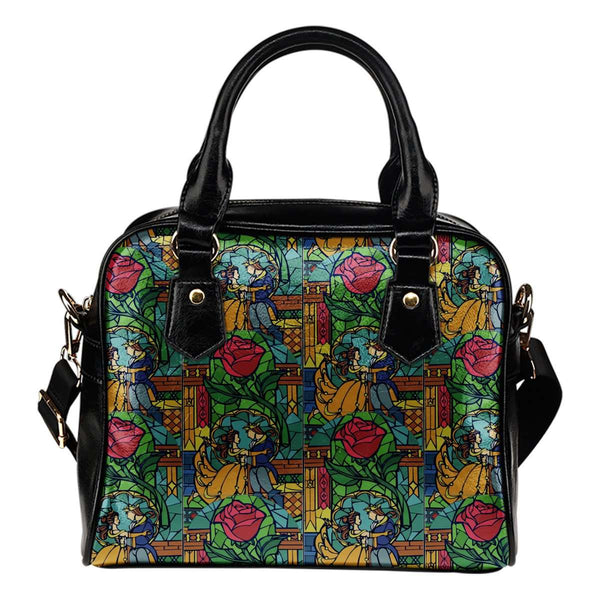 Beauty And The Beast Stained Glass Theme Women Fashion Shoulder Handbag Black Vegan Faux Leather