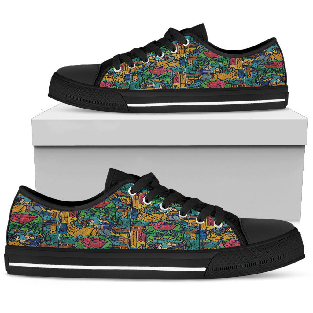 Beauty And The Beast Stained Glass Womens Low Top Shoes