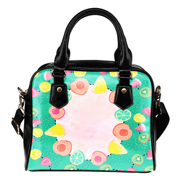 Fruits Themed Design B7 Women Fashion Shoulder Handbag Black Vegan Faux Leather