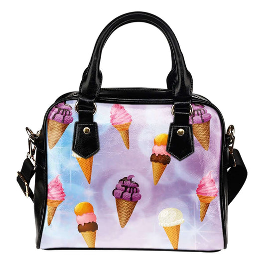 Ice Cream #1 Dessert Kawaii Lolita Theme Women Fashion Shoulder Handbag Black Vegan Faux Leather
