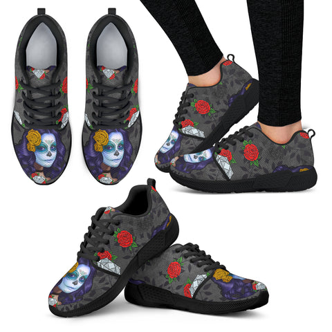 Sugar Skull Diamond Red Women Athletic Sneakers