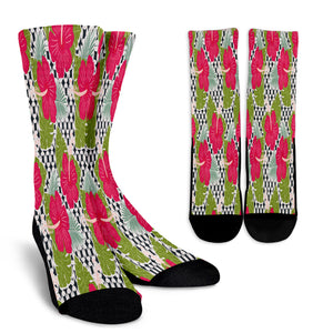 Tropical Hibiscus Flower Crew Socks - STUDIO 11 COUTURE