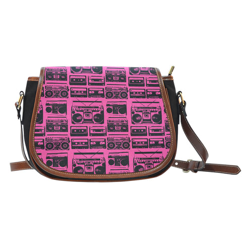 80s Boombox (A1) Crossbody Shoulder Canvas Leather Saddle Bag