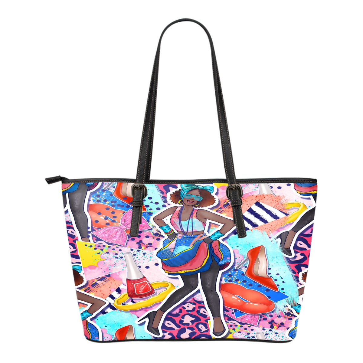 80s Fashion Themed Design C9 Women Small Leather Tote Bag