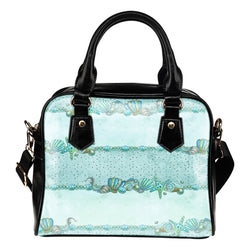 Summer Mermaid Themed Design B9 Women Fashion Shoulder Handbag Black Vegan Faux Leather
