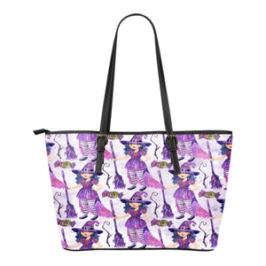 Witch Themed Design C1 Women Small Leather Tote Bag