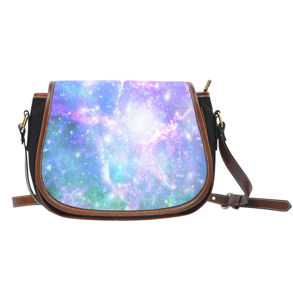 Galaxy Pastel 3 Crossbody Shoulder Canvas Leather Saddle Bag - STUDIO 11 COUTURE