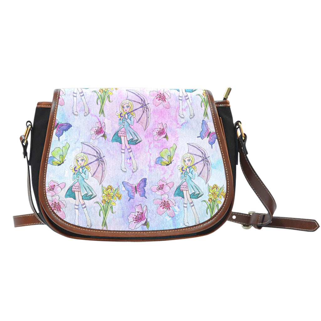 Spring Paper Themed Design 5 Crossbody Shoulder Canvas Leather Saddle Bag