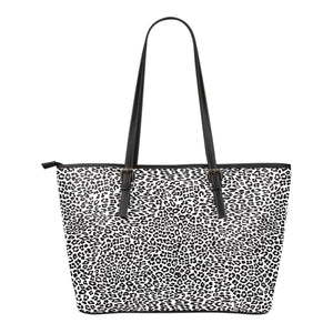 Animal Print BW Themed Design C1 Women Small Leather Tote Bag