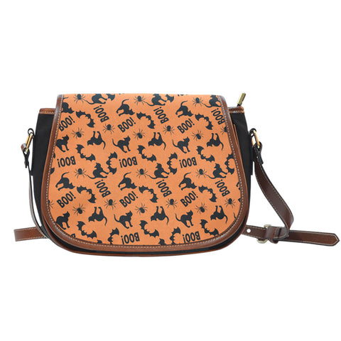 Trick or Treat (K7) Crossbody Shoulder Canvas Leather Saddle Bag - STUDIO 11 COUTURE