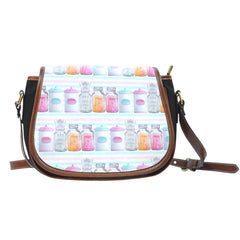 Baking Themed Confection Recipes Crossbody Shoulder Canvas Leather Saddle Bag