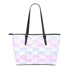 Unicorn Themed Design C1 Women Small Leather Tote Bag
