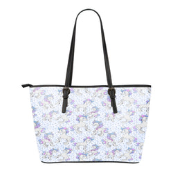 Unicorn Themed Design C15 Women Small Leather Tote Bag
