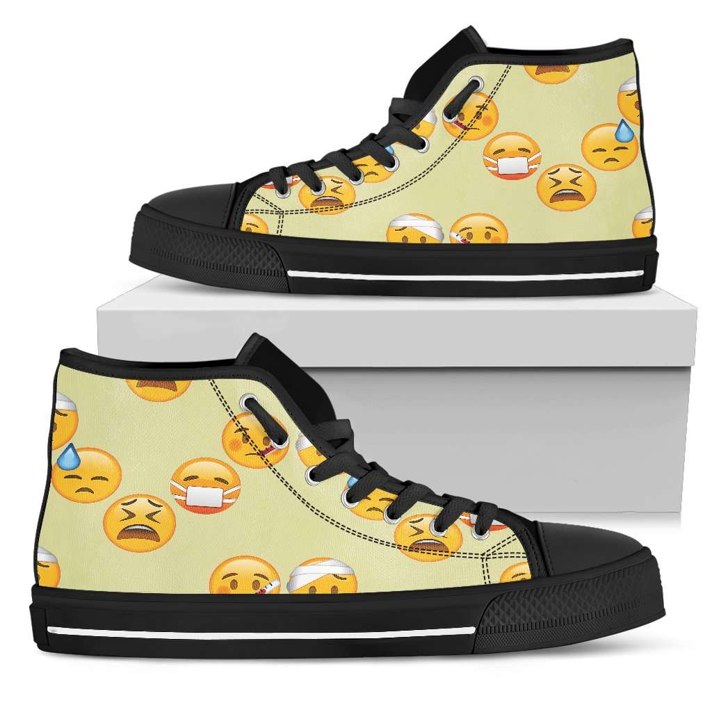 Emoji Sick Womens High Top Shoes