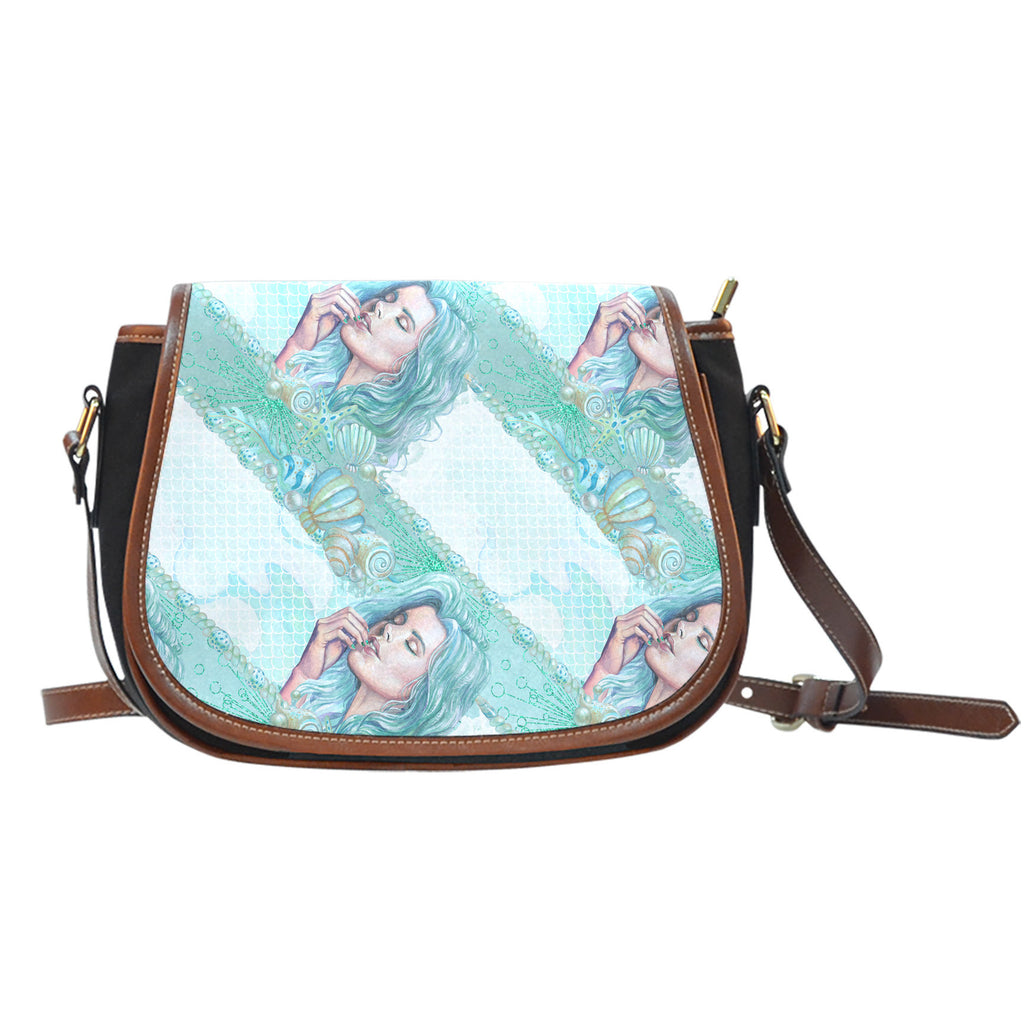 Summer Mermaid Themed Design 1 Crossbody Shoulder Canvas Leather Saddle Bag