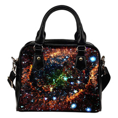 Galaxy #5 Theme Women Fashion Shoulder Handbag Black Vegan Faux Leather - STUDIO 11 COUTURE