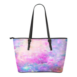 Pastel Galaxy Themed Design C7 Women Small Leather Tote Bag