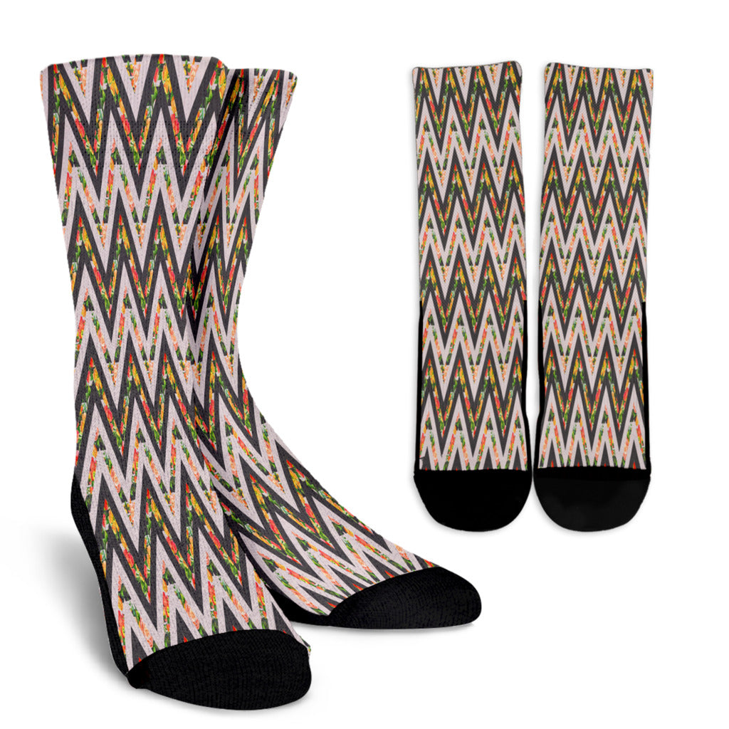 Awesome Zigzag Floral Spring Crew Socks
