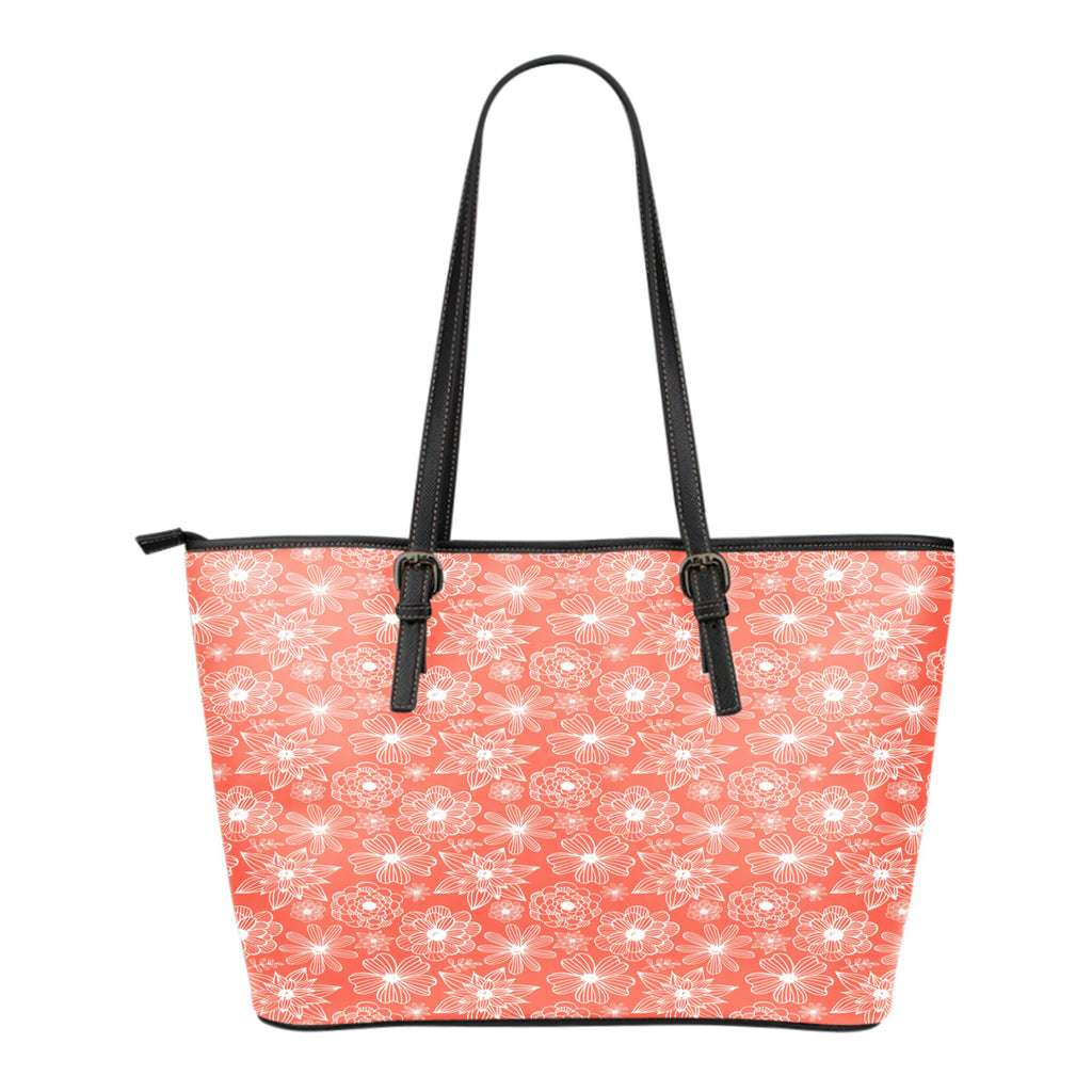 Floral Springs Themed Design C4 Women Large Leather Tote Bag