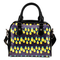 Fruits Themed Design B5 Women Fashion Shoulder Handbag Black Vegan Faux Leather