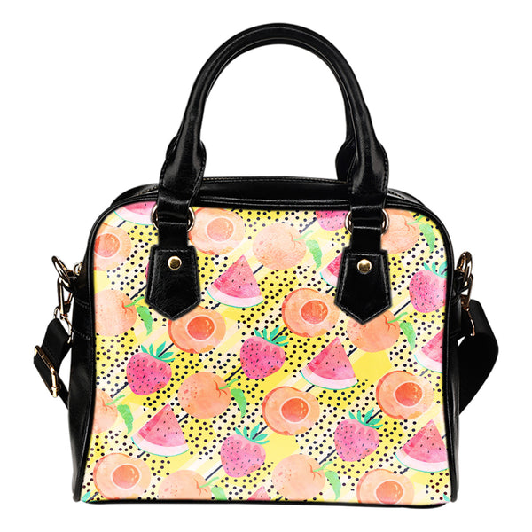 Fruits Themed Design B9 Women Fashion Shoulder Handbag Black Vegan Faux Leather