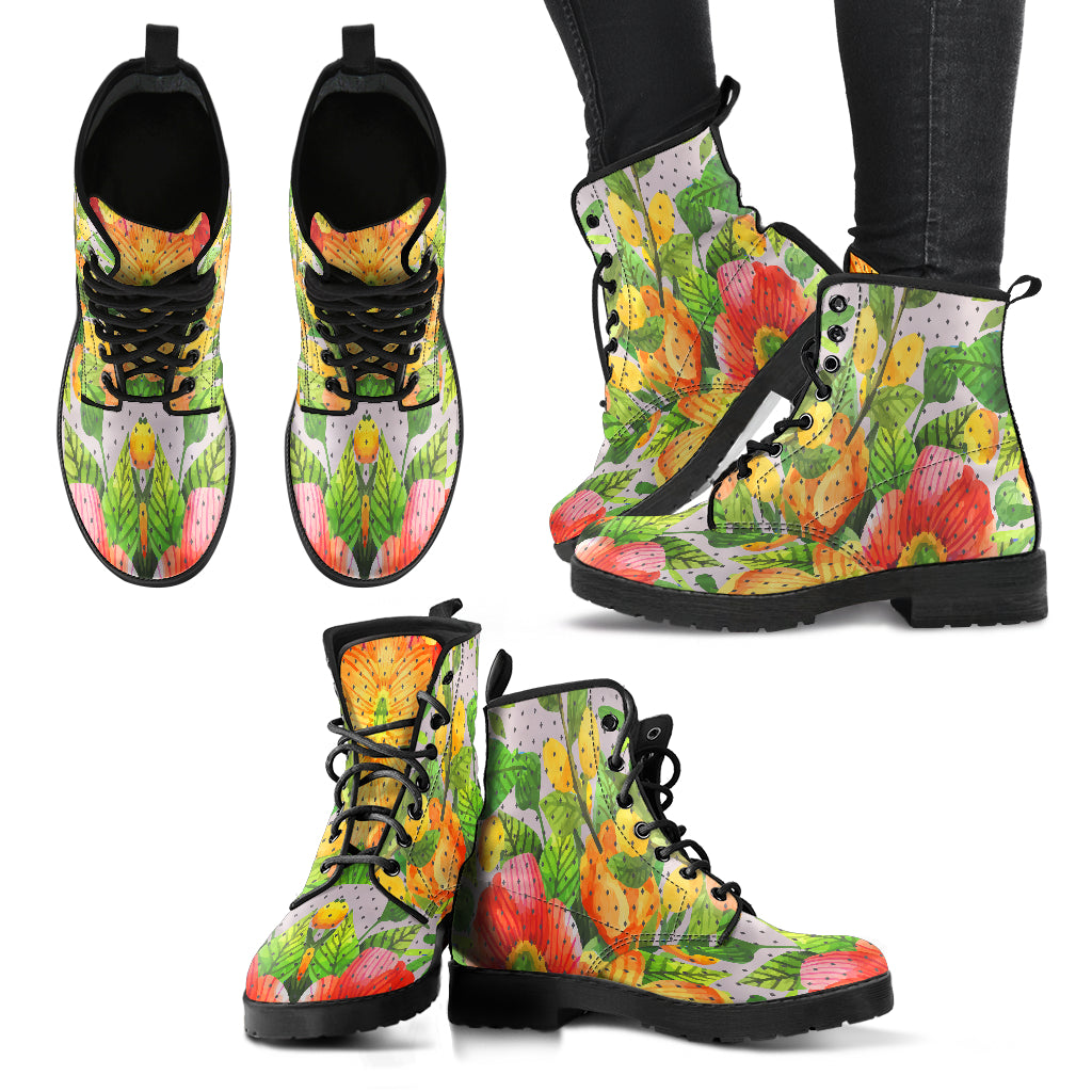Amazing Floral Spring Women Leather Boots