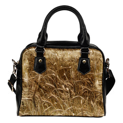 Nature Themed Design B14 Women Fashion Shoulder Handbag Black Vegan Faux Leather