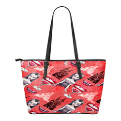 Vampire Themed Design C6 Women Small Leather Tote Bag