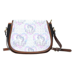Unicorn In Love Heart Crossbody Shoulder Canvas Leather Saddle Bag - STUDIO 11 COUTURE