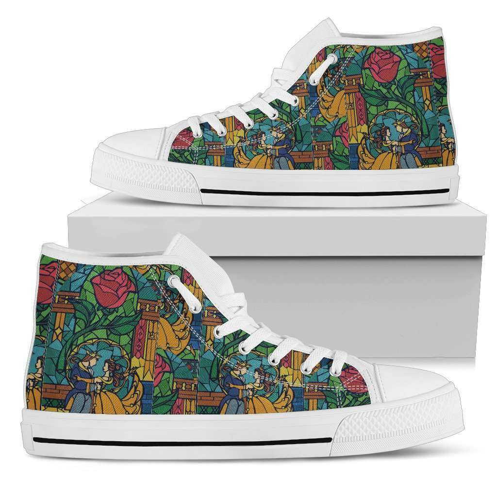 Beauty And The Beast Stained Glass Womens High Top Shoes