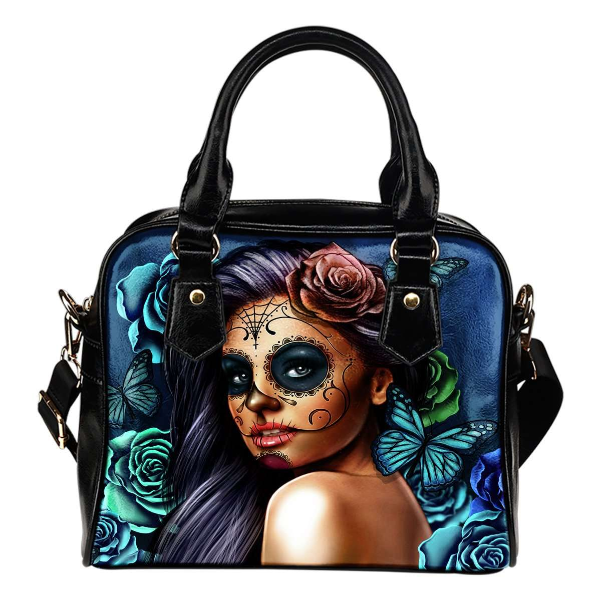 Blue Sugar Skull Girl Theme Women Fashion Shoulder Handbag Black Vegan Faux Leather