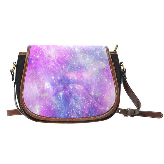 Galaxy Pastel Crossbody Shoulder Canvas Leather Saddle Bag - STUDIO 11 COUTURE
